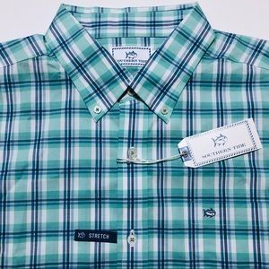 Southern Tide Plaid Stretch Button Front Shirt NEW